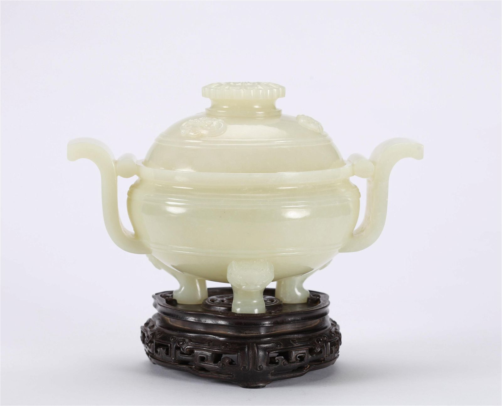 A CHINESE CARVED WHITE JADE CENSER, QING DYNASTY