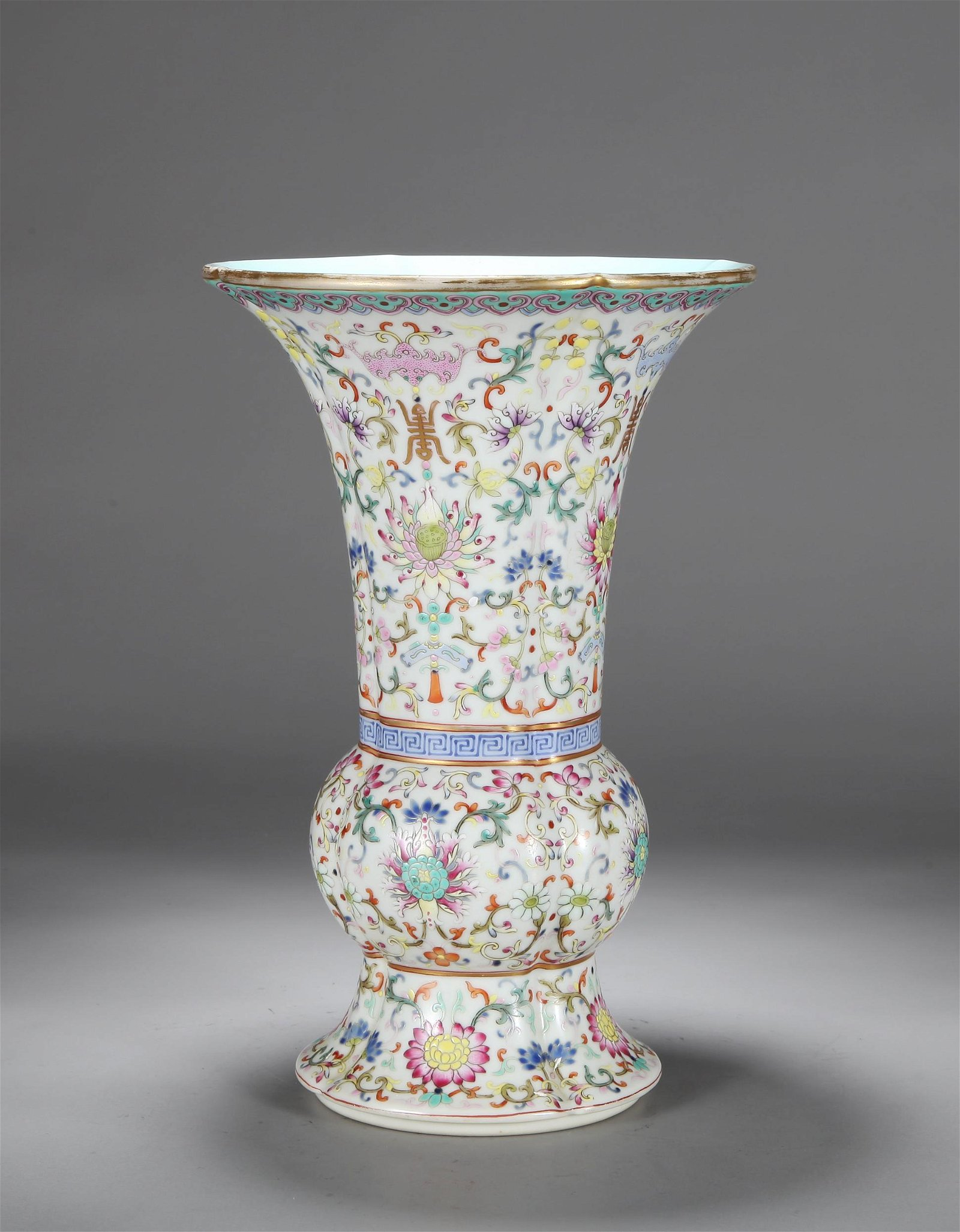 A CHINESE FAMILLE ROSE GU FORM VASE, QING DYNASTY