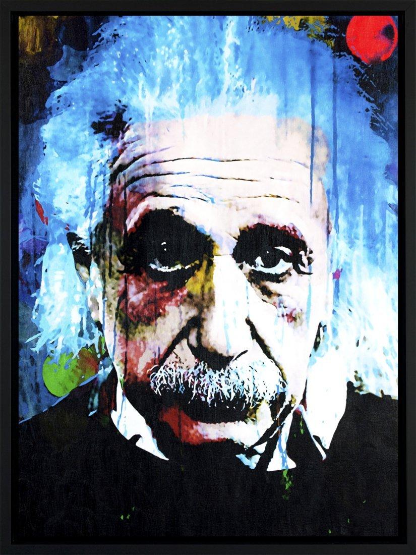Albert Einstein mixed media original painting - qt