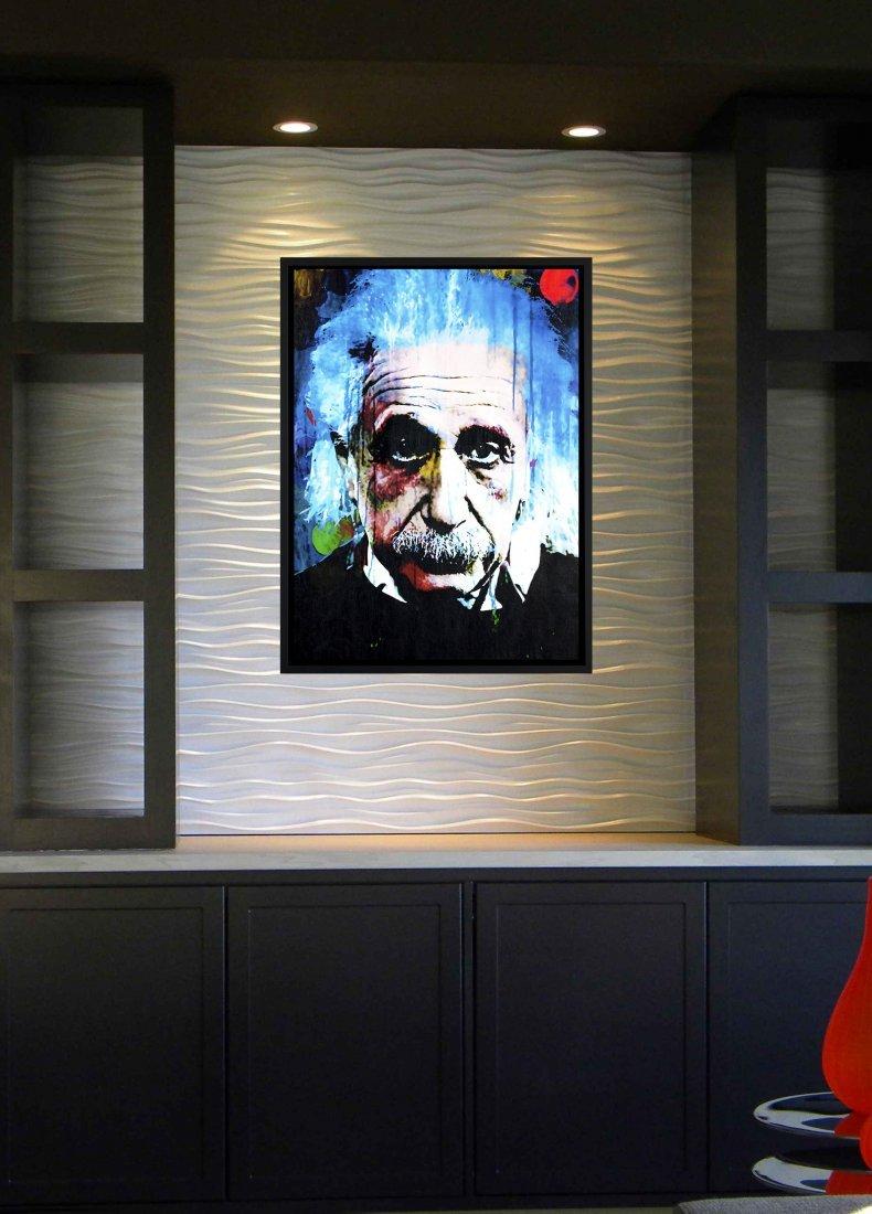 Albert Einstein mixed media original painting - qt - 3