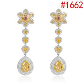 Dangle stud earrings with 2 stones pear shape 4.50ct