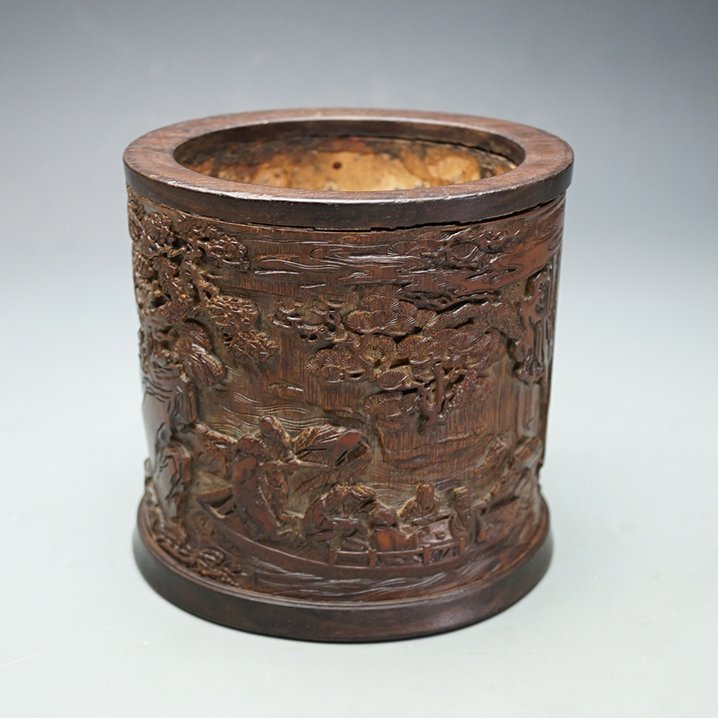 Early Qing Dynasty, A Carved Bamboo Brushpot