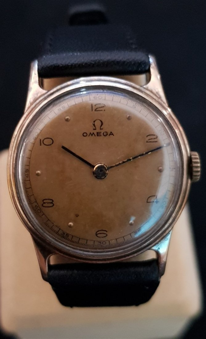 Omega 1939 Aged Pilot Dial 14kt GF Watch