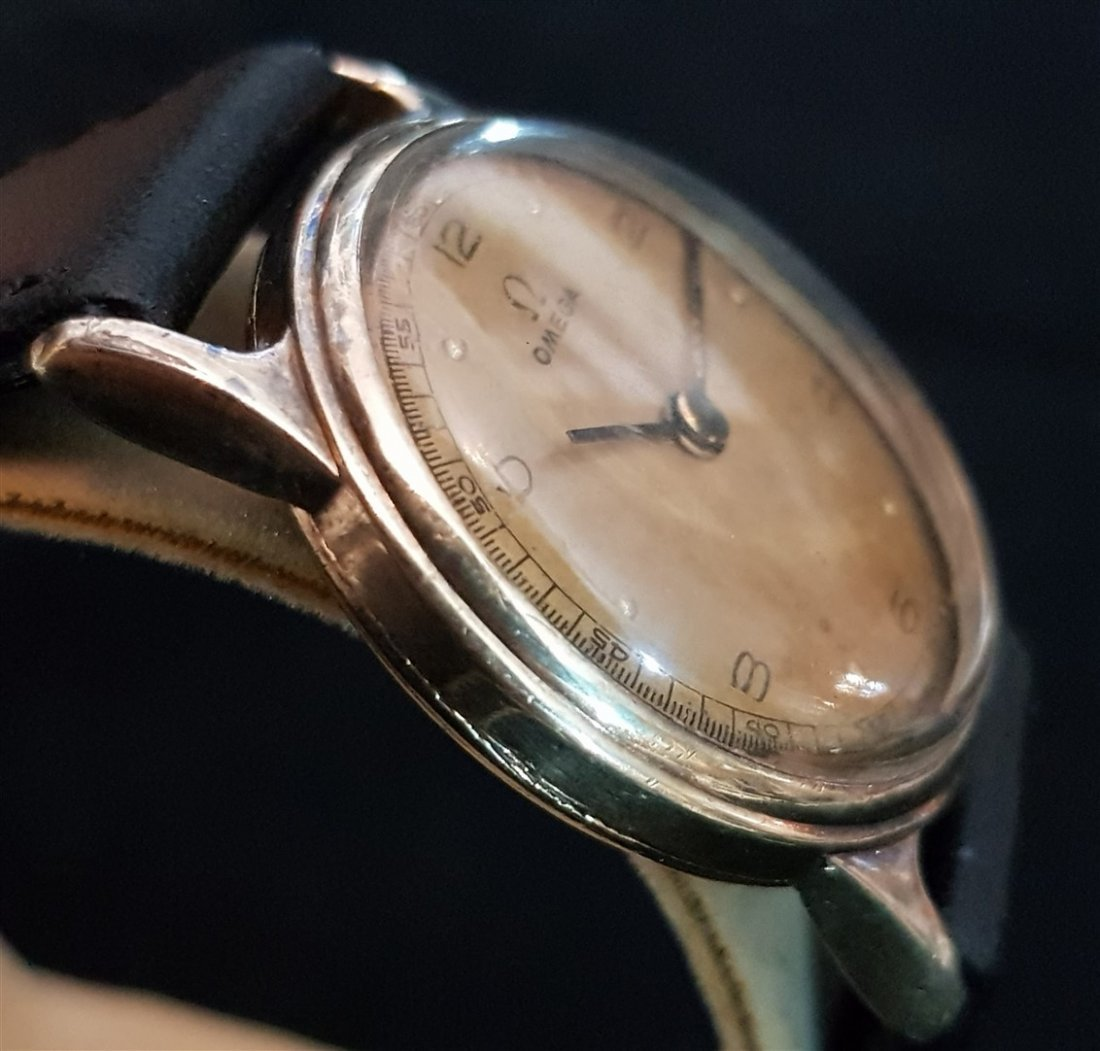 Omega 1939 Aged Pilot Dial 14kt GF Watch - 3