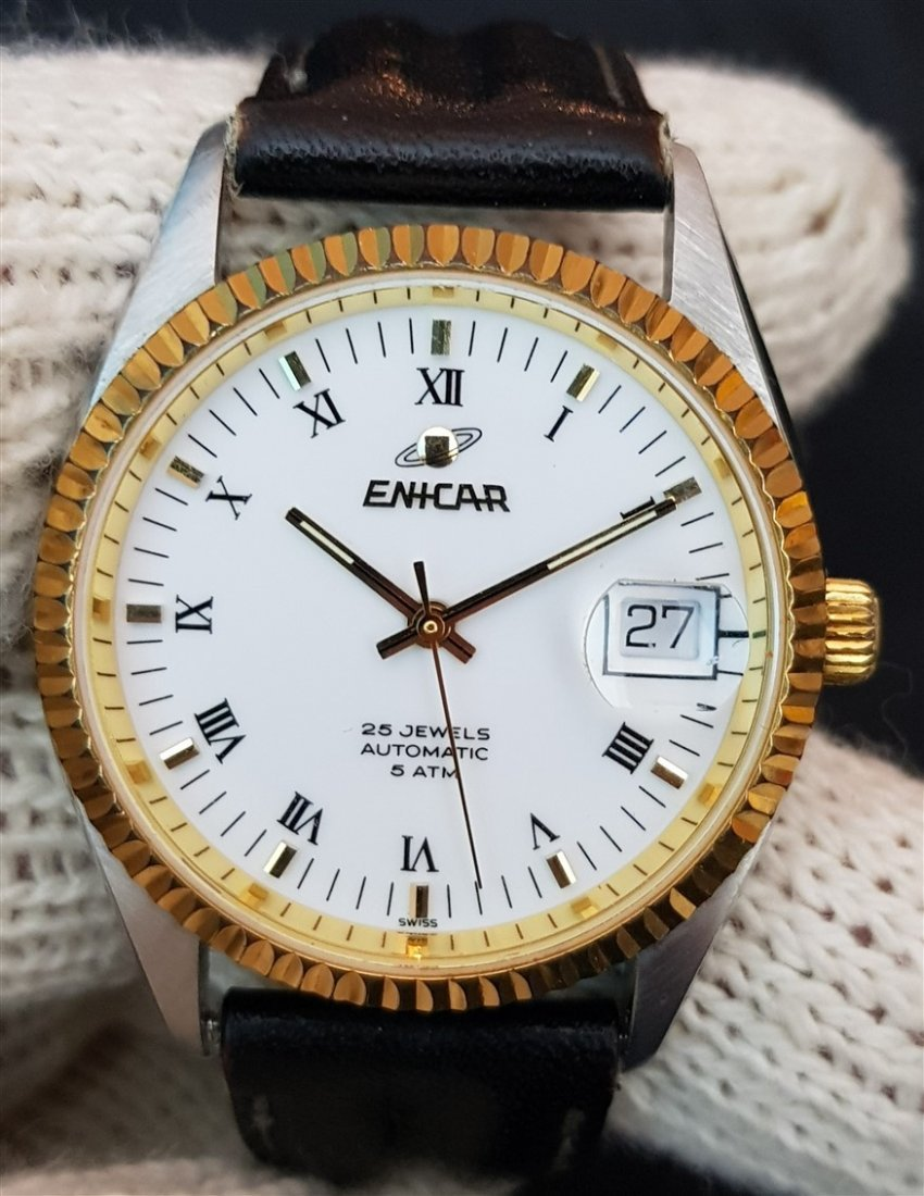 Very Rare Enicar Automatic Two Tone 25 Jewels
