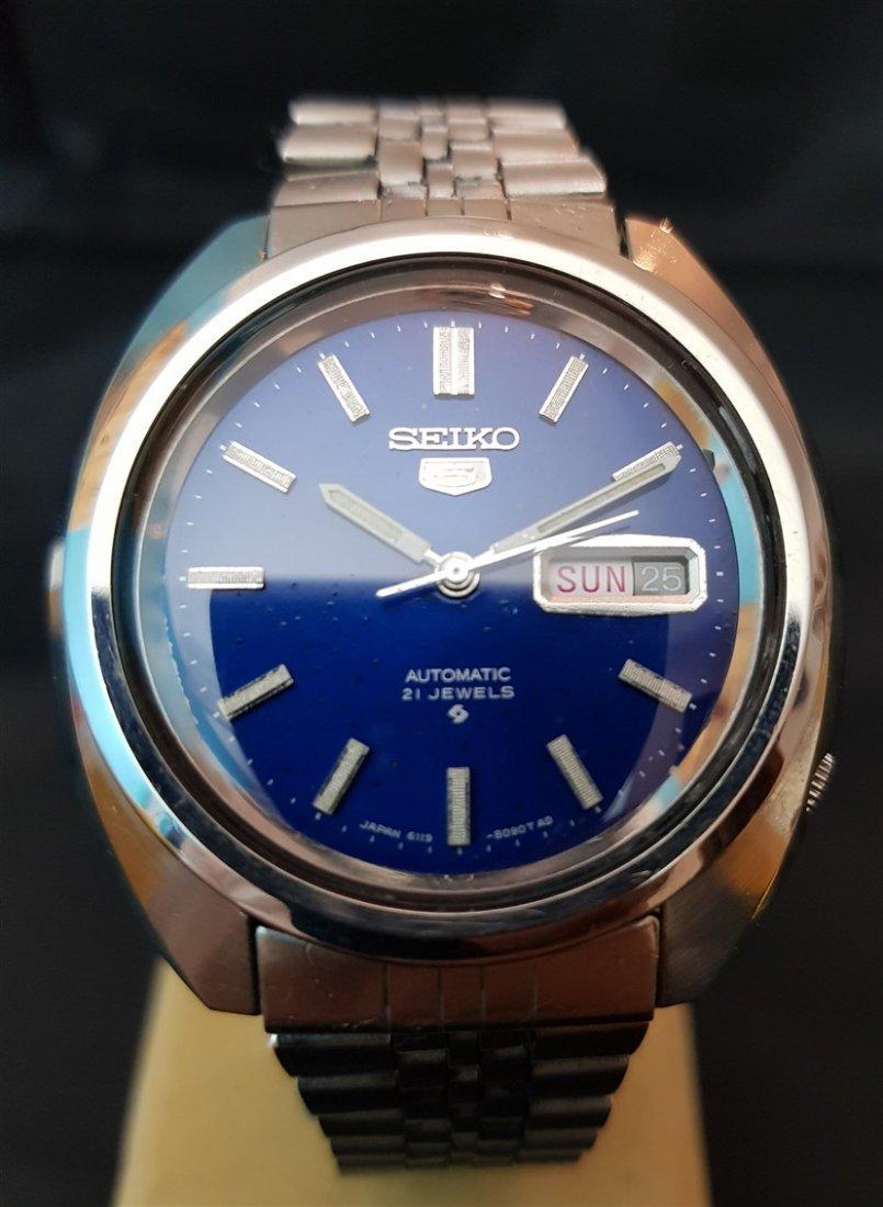 Gentleman's 1970's Seiko 5 Big Blue Dial 21 Jewels - 2