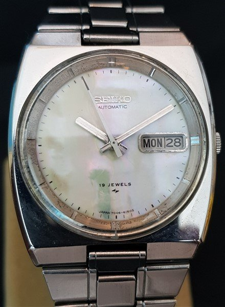 Ultra Rare 70's Seiko Automatic Mother Of Pearl Dial
