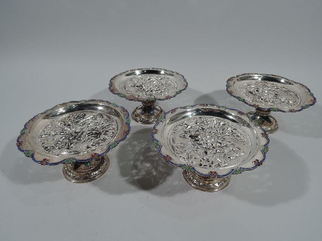 Set of 4 Antique Southeast Asian Silver and Enamel