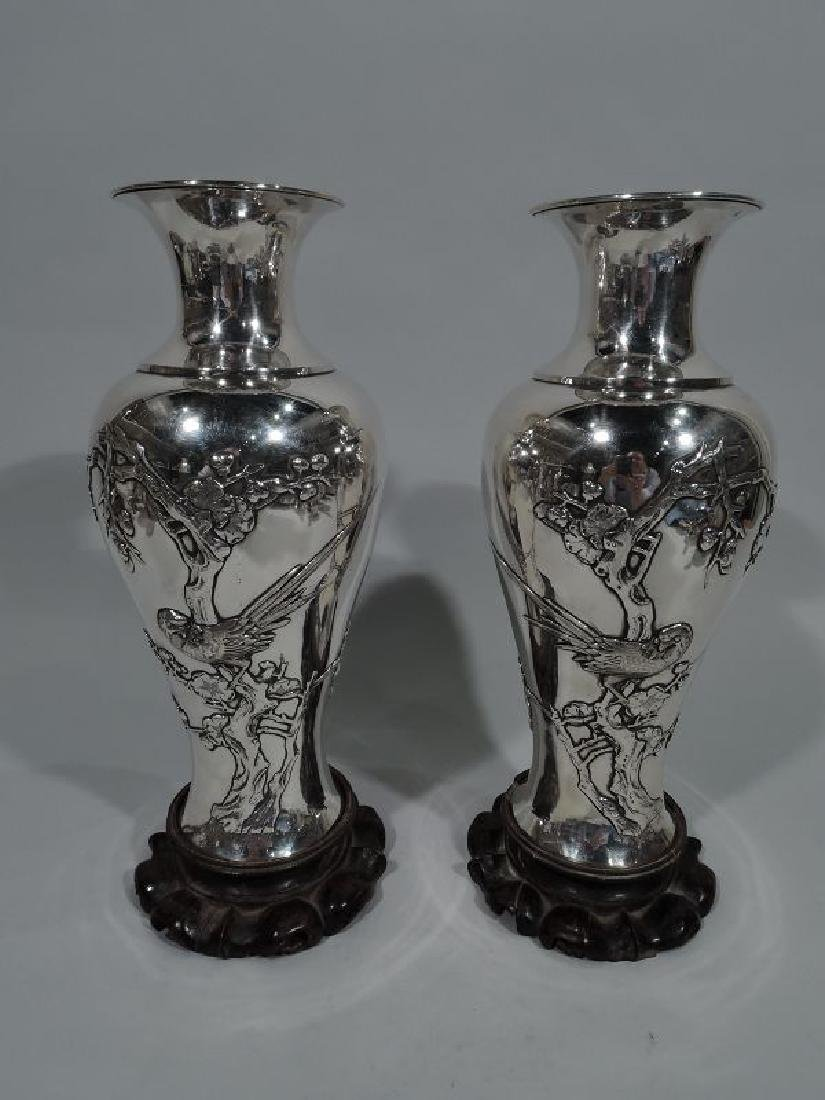 Pair of Antique Chinese Silver Vases with Blossoming