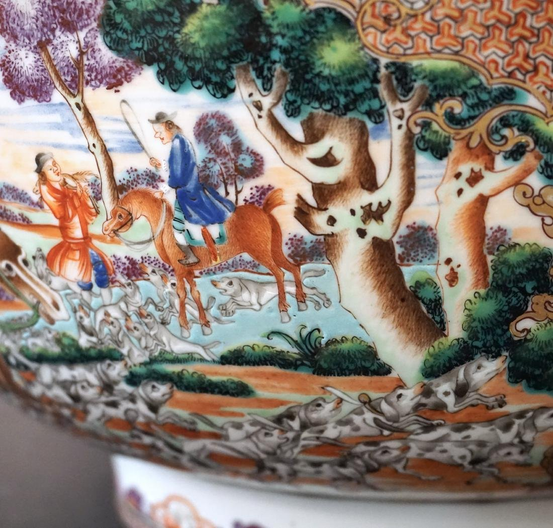 A Rare Chinese Export Famille Rose 'Hunt Scene' Punch