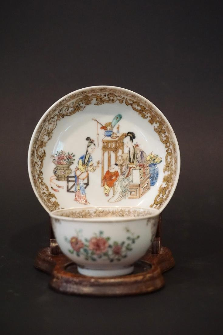 Finely Painted Famille Rose Chinese 'Ladies in Waiting'