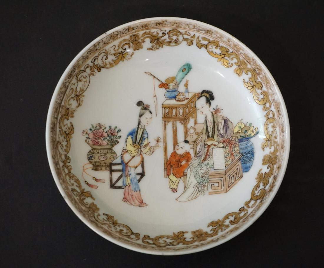 Finely Painted Famille Rose Chinese 'Ladies in Waiting' - 4