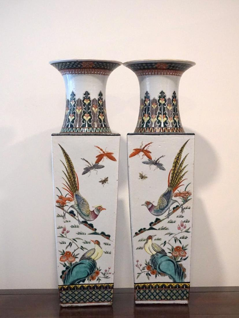 A Pair of Chinese Famille Verte Square Form 'Birds' - 2