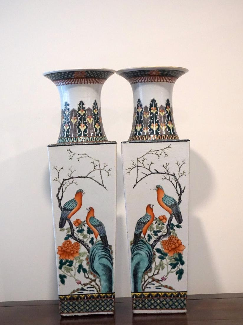 A Pair of Chinese Famille Verte Square Form 'Birds' - 3