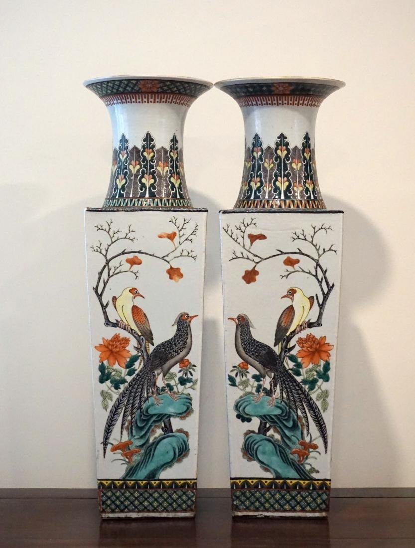 A Pair of Chinese Famille Verte Square Form 'Birds' - 4
