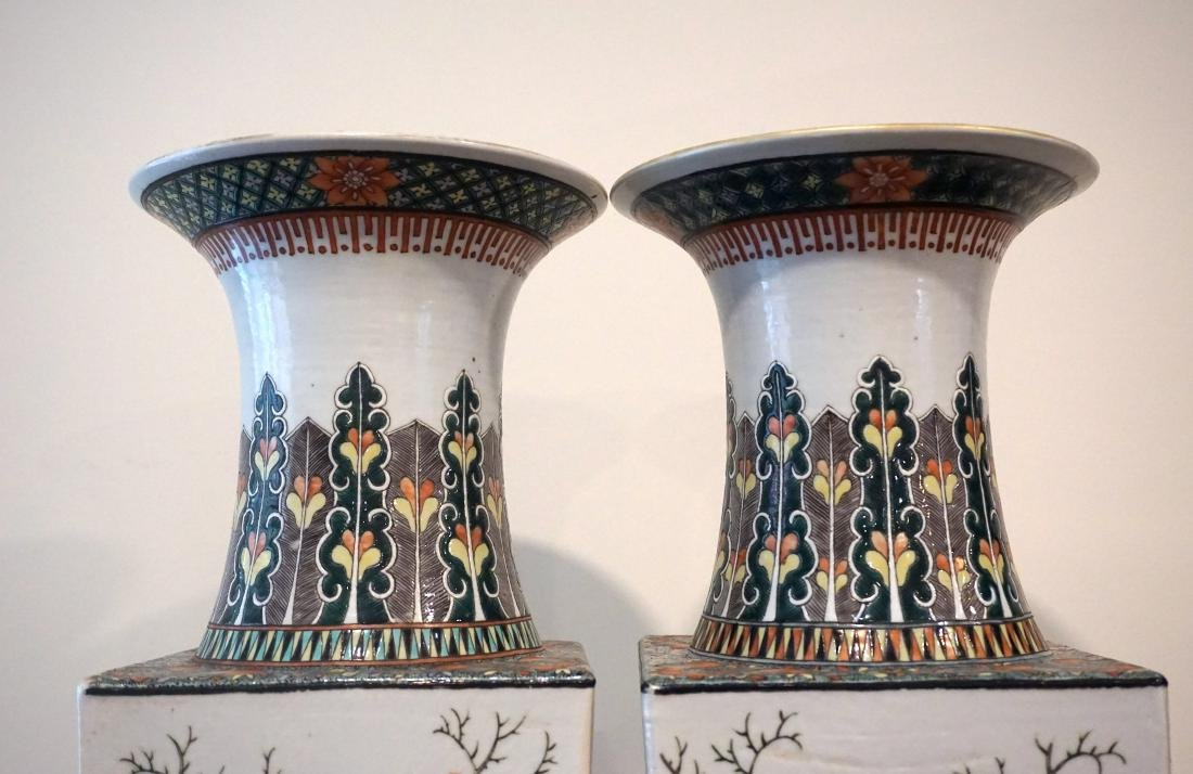 A Pair of Chinese Famille Verte Square Form 'Birds' - 5