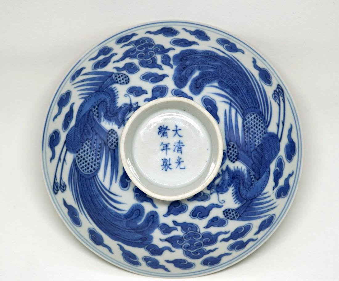 A Chinese Blue and White 'Double Phoenix' Bowl Cover - 2