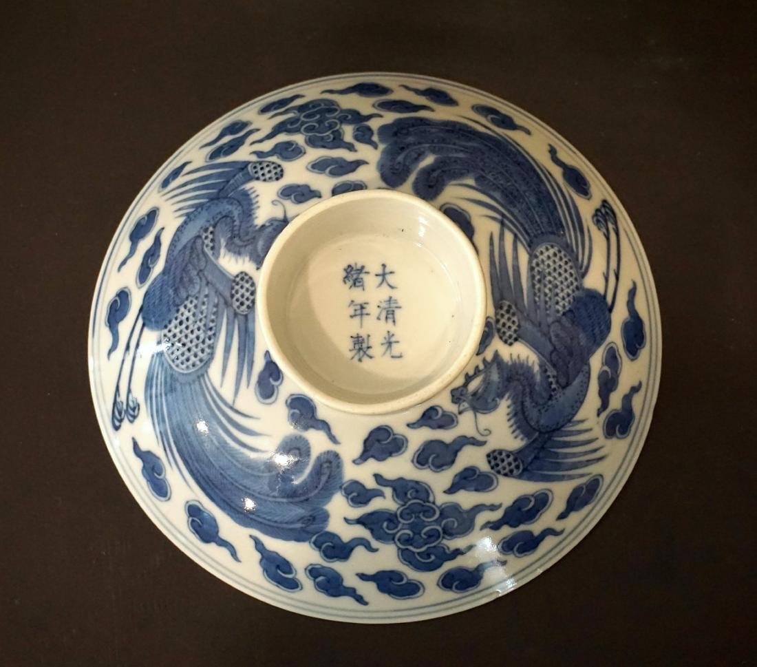 A Chinese Blue and White 'Double Phoenix' Bowl Cover - 3