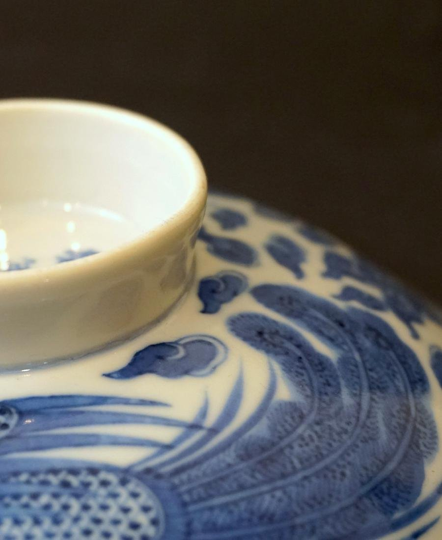 A Chinese Blue and White 'Double Phoenix' Bowl Cover - 7