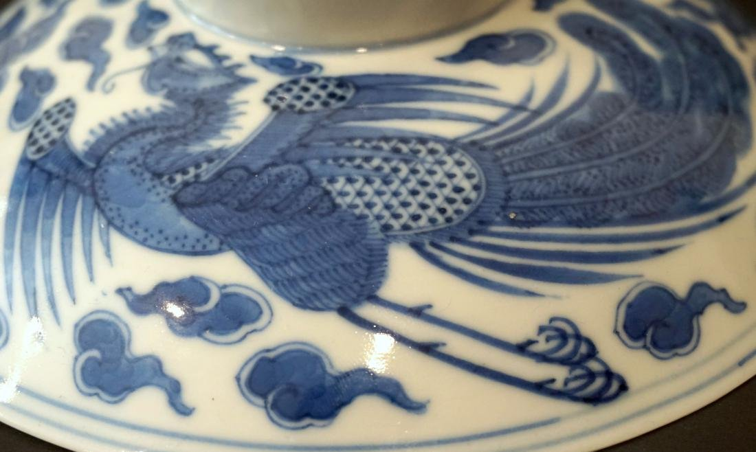 A Chinese Blue and White 'Double Phoenix' Bowl Cover - 8