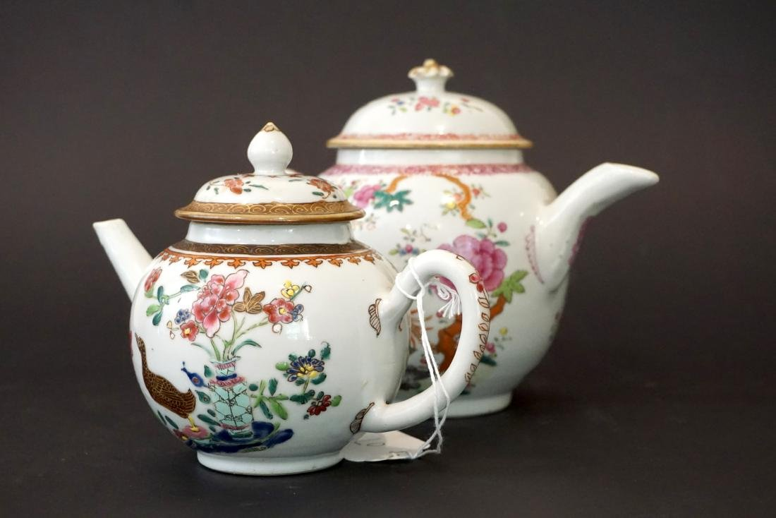 Two Chinese Export Famille Rose Teapots