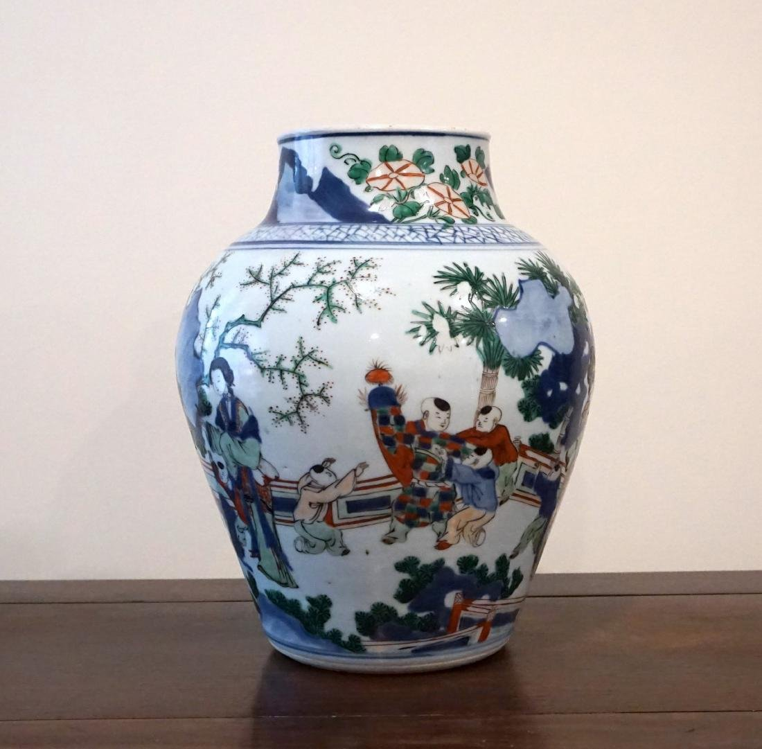 A Chinese Wucai 'Figural' Guan Jar - 2