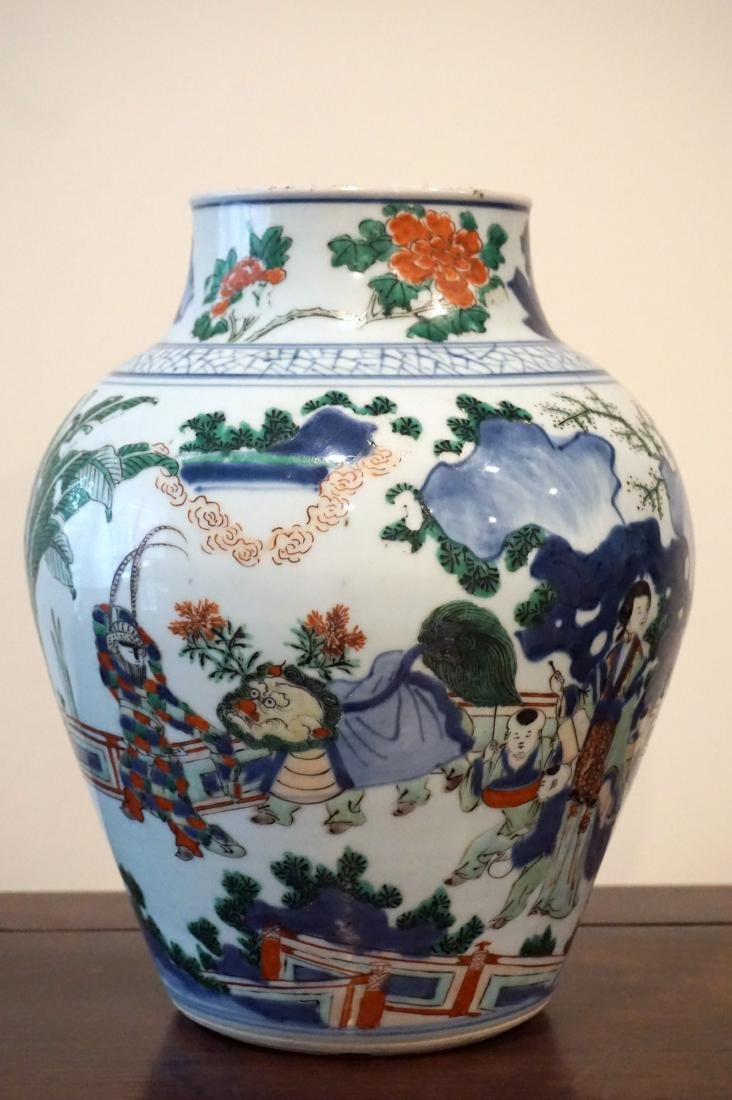 A Chinese Wucai 'Figural' Guan Jar - 3