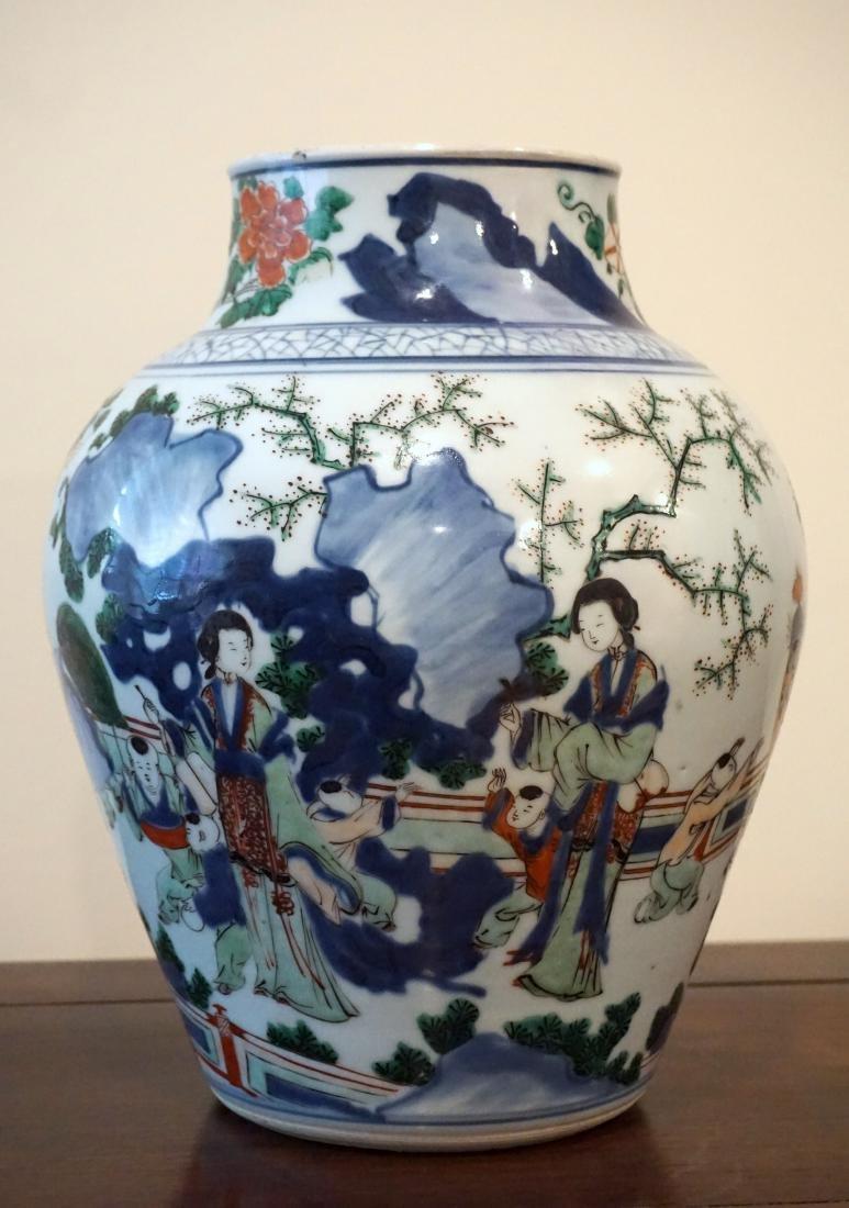 A Chinese Wucai 'Figural' Guan Jar - 4