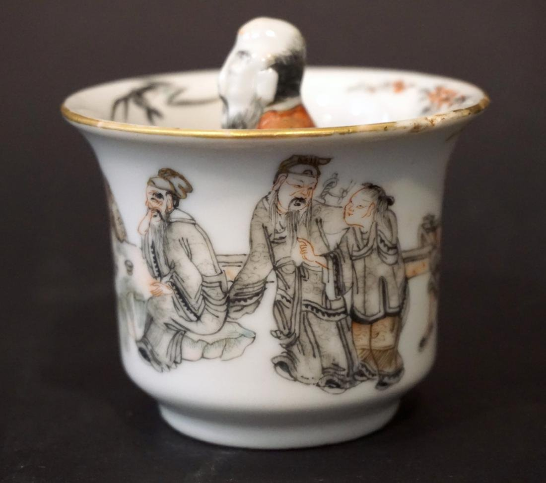 An Unusual Chinese Famille Rose and Grisaille Wine Cup - 3