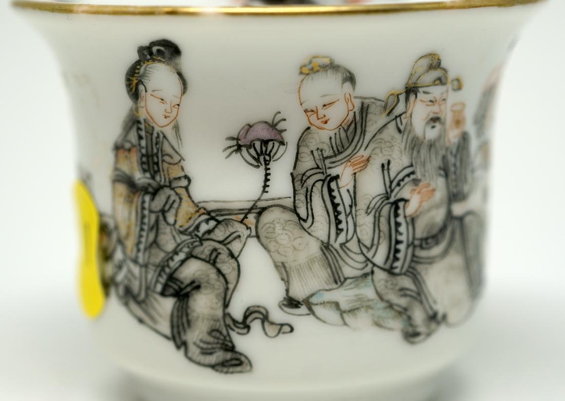 An Unusual Chinese Famille Rose and Grisaille Wine Cup - 4