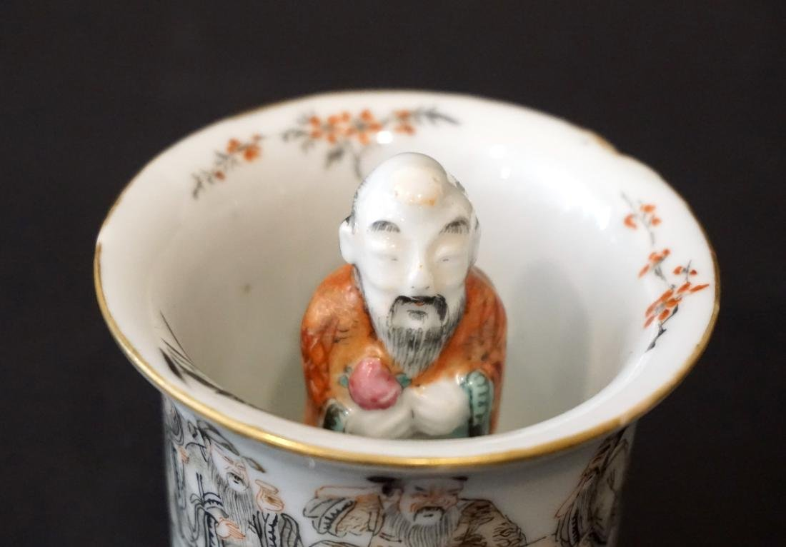 An Unusual Chinese Famille Rose and Grisaille Wine Cup - 5