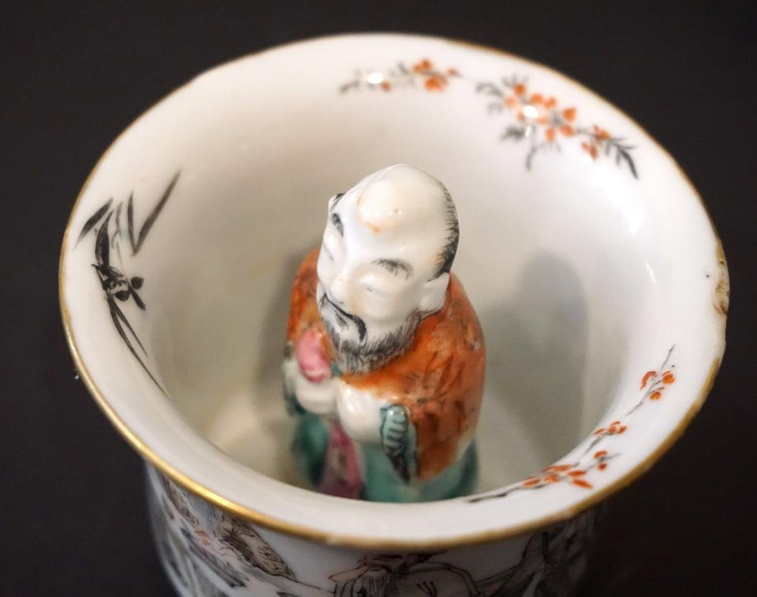 An Unusual Chinese Famille Rose and Grisaille Wine Cup - 6