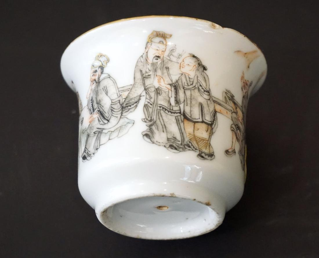 An Unusual Chinese Famille Rose and Grisaille Wine Cup - 7