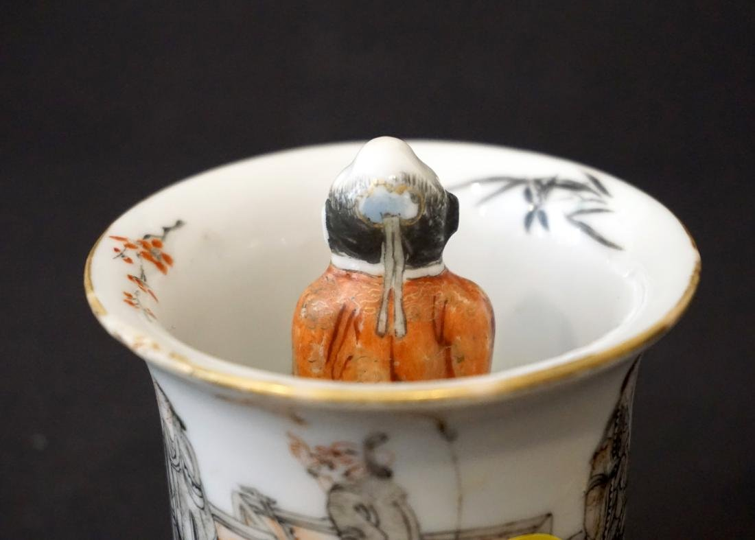 An Unusual Chinese Famille Rose and Grisaille Wine Cup - 9