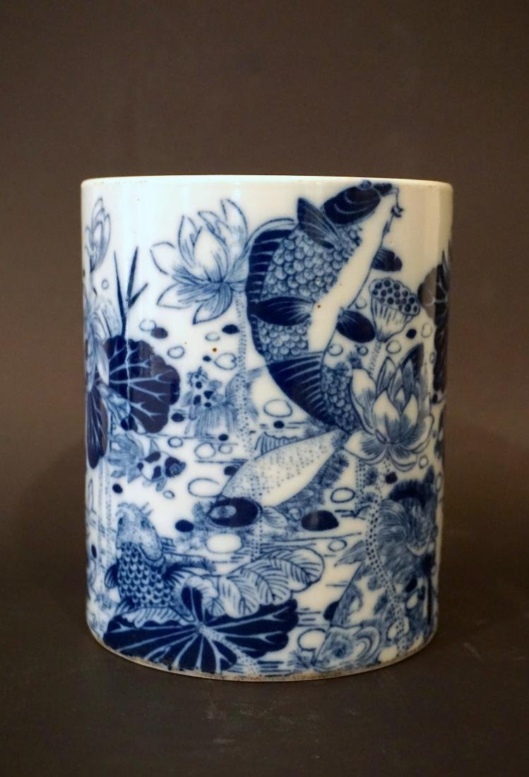 A Chinese Blue and White 'Aquatic Life' Brushpot, - 3