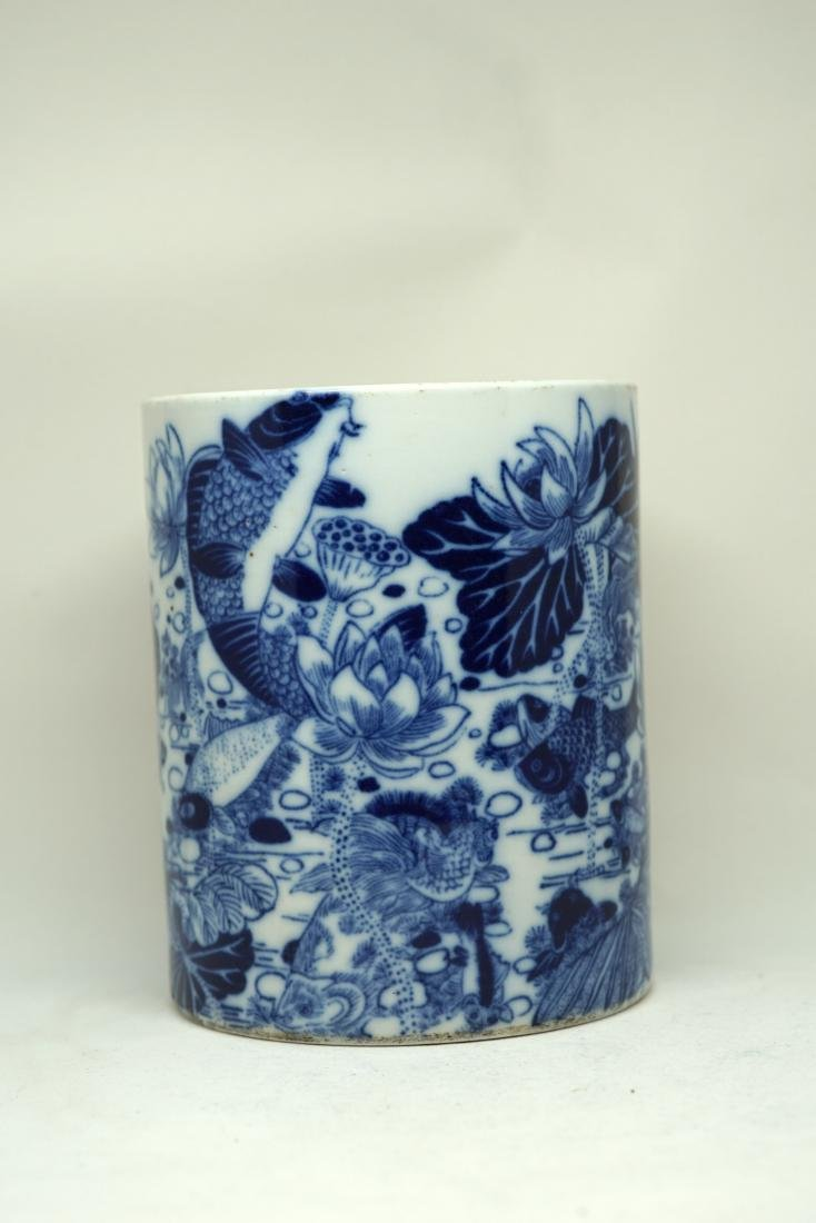 A Chinese Blue and White 'Aquatic Life' Brushpot, - 8