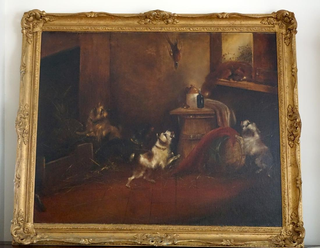 19th Century Oil Painting Depicting Three Dogs Playing