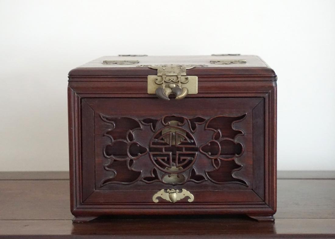 A Chinese Huali Wood Mirror Box