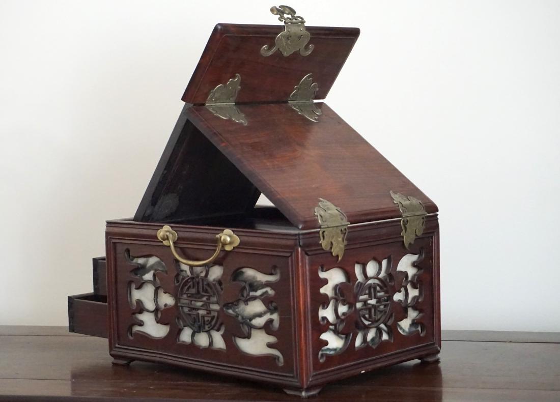 A Chinese Huali Wood Mirror Box - 3