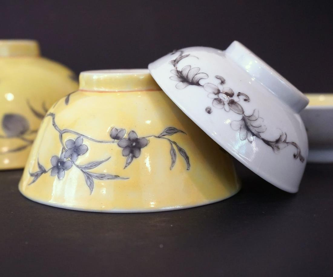 Six Assorted Chinese Yellow Ground Dayazhai Porcelain - 4