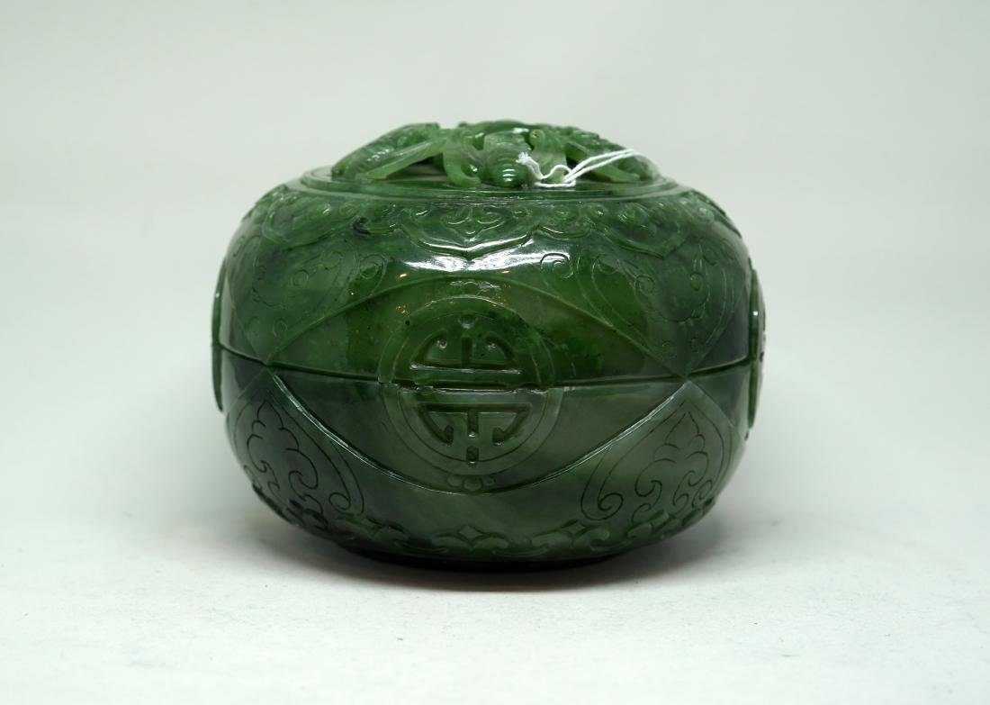 A Large Chinese Spinach Green Jade 'Wufu' Box and Cover