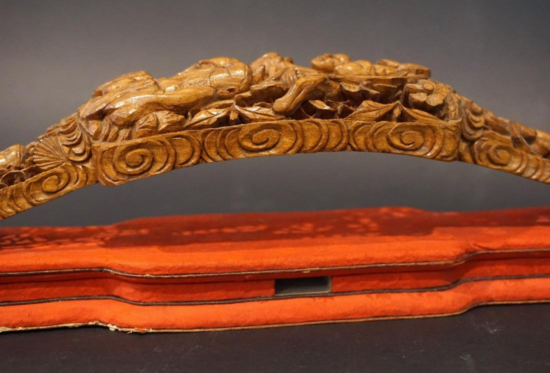 A Chinese Reticulated Boxwood Ruyi Sceptre - 5