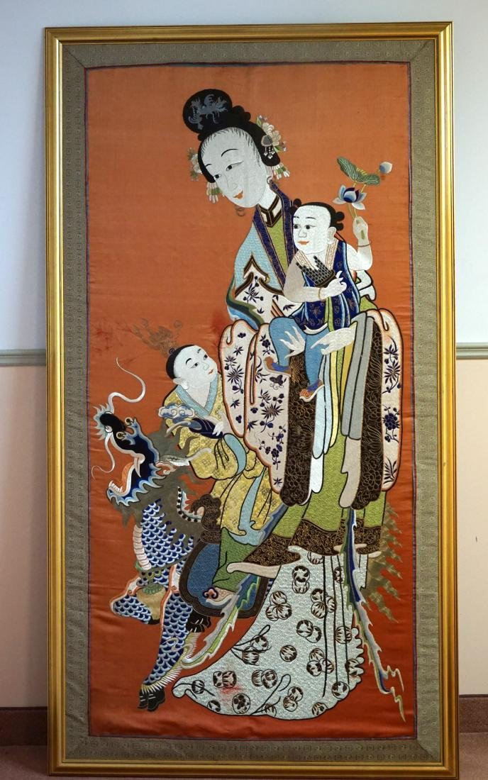 A Large Chinese Silk Embroidered Figural Panel