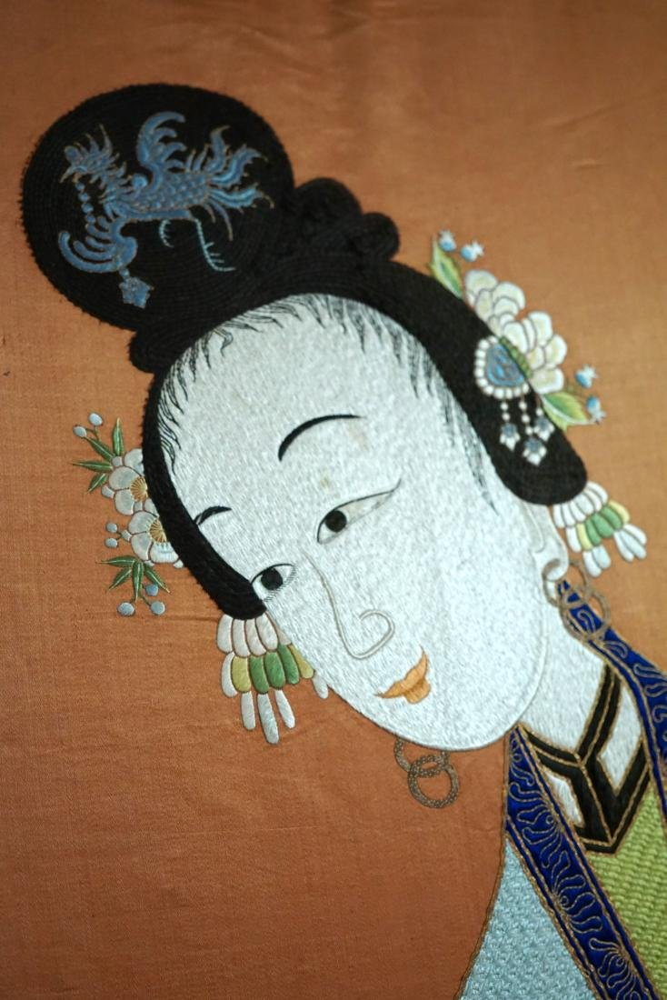 A Large Chinese Silk Embroidered Figural Panel - 2