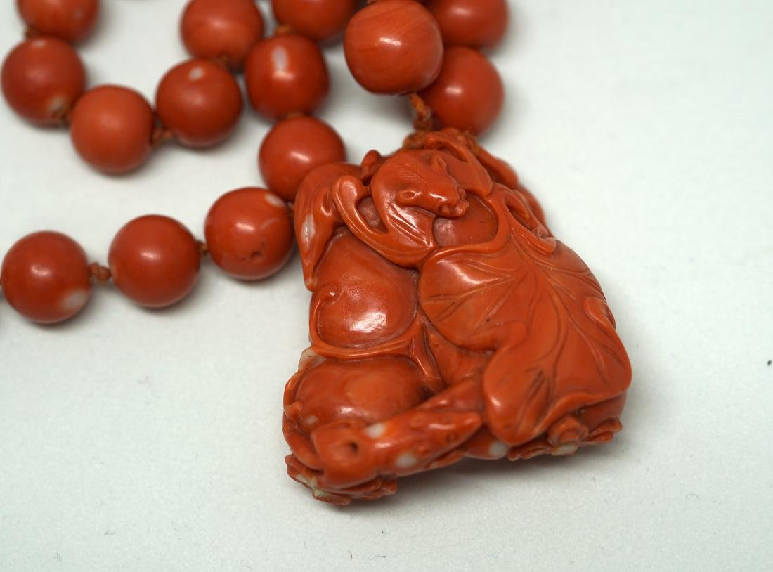 A String of Coral Bead with Carved Pendant Necklace - 2