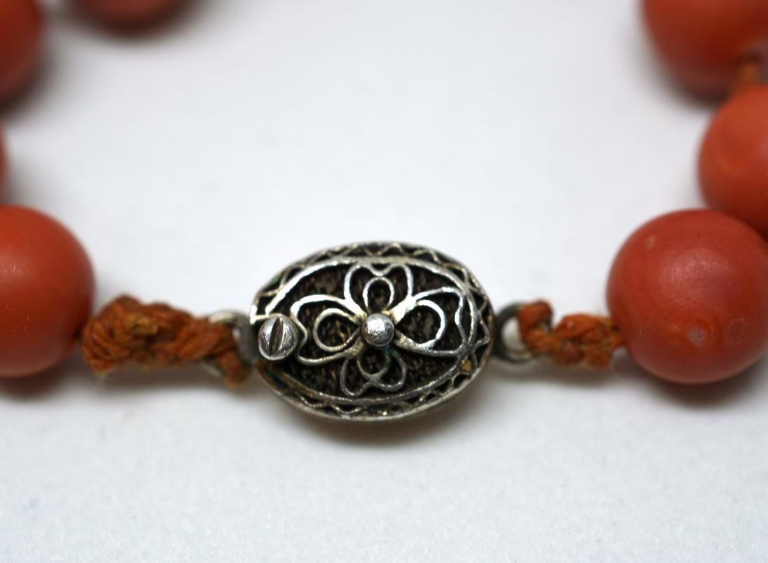 A String of Coral Bead with Carved Pendant Necklace - 3