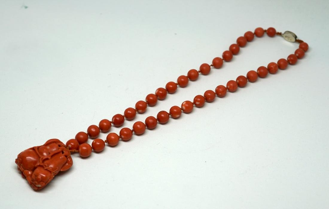 A String of Coral Bead with Carved Pendant Necklace - 4