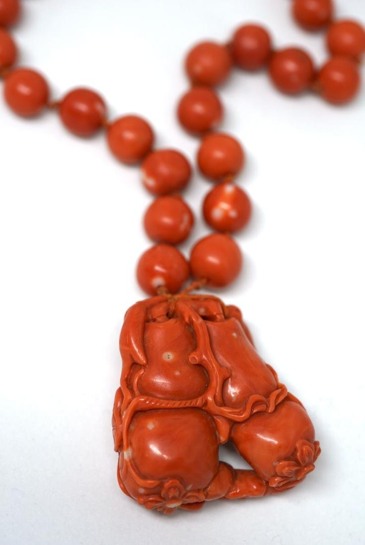 A String of Coral Bead with Carved Pendant Necklace - 5