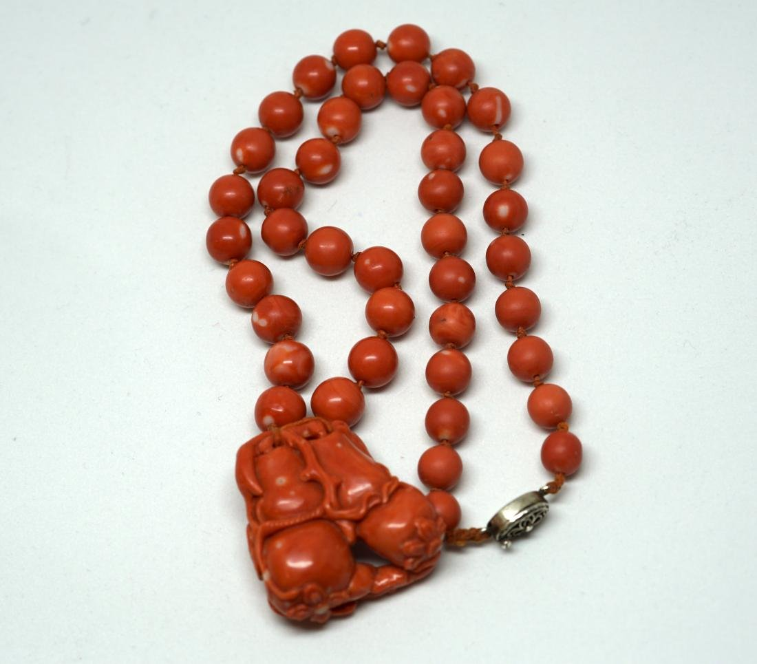 A String of Coral Bead with Carved Pendant Necklace - 6