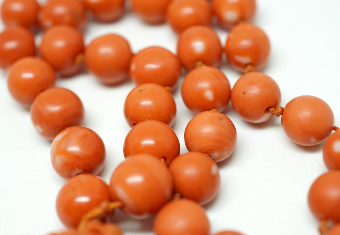A String of Coral Bead with Carved Pendant Necklace - 7
